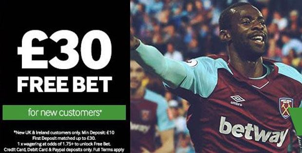 Betway: £€30 in Free Bets! - New Free Bet No Deposit
